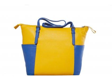 Žluto - modrá kožená kabelka