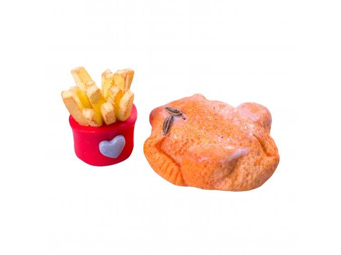 Pečené kuře s hranolkami