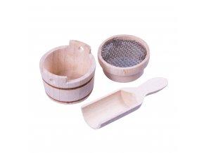 Dřevěné nádobí-sítko, vědro, lopatka