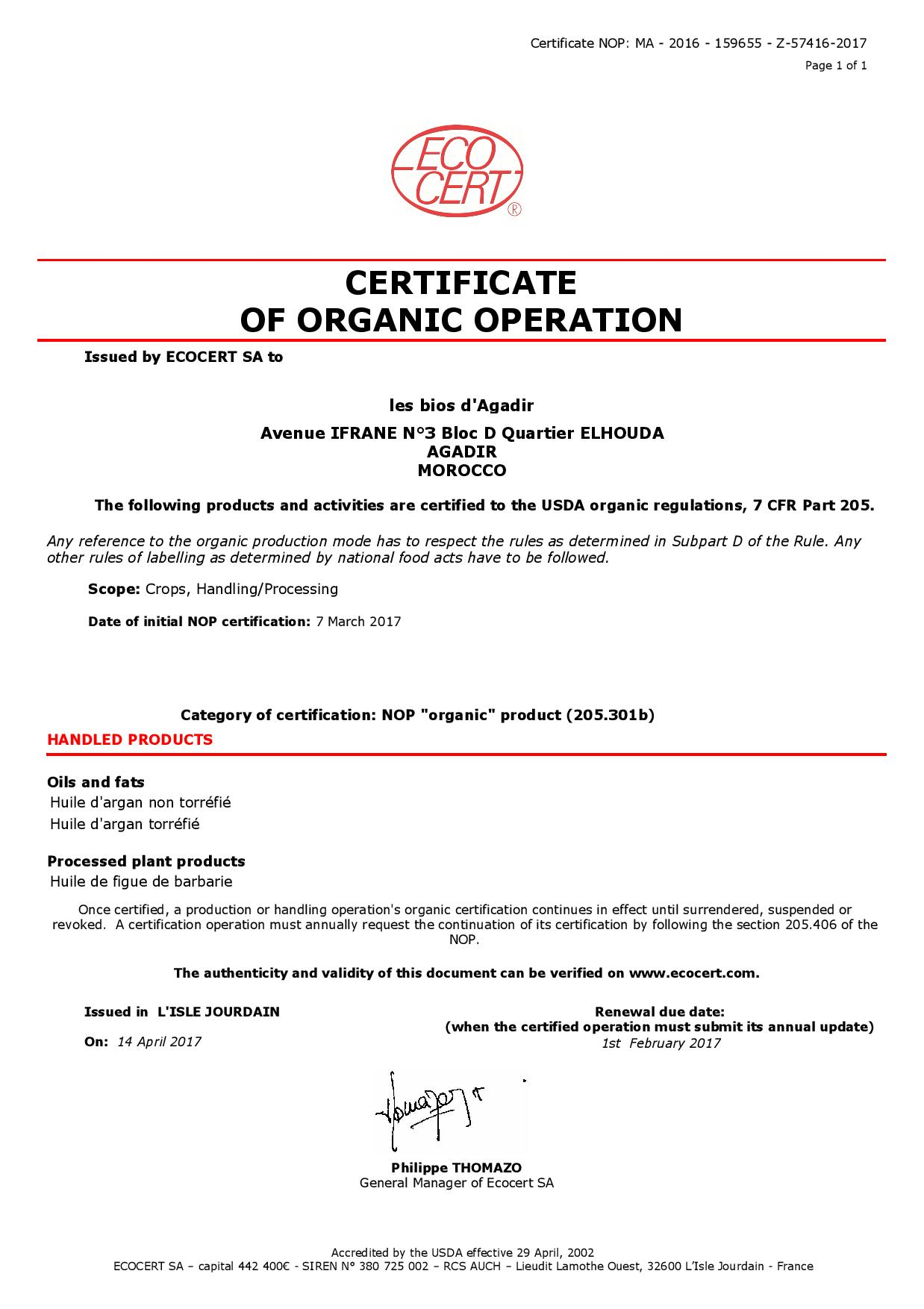 arganový olej certifikát Ecocert