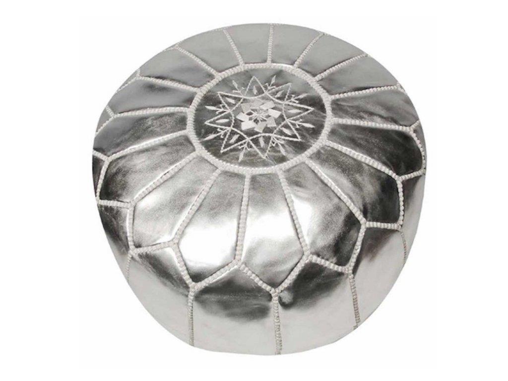 Orientální marocký taburet Fatima - stříbrný s šedým prošíváním