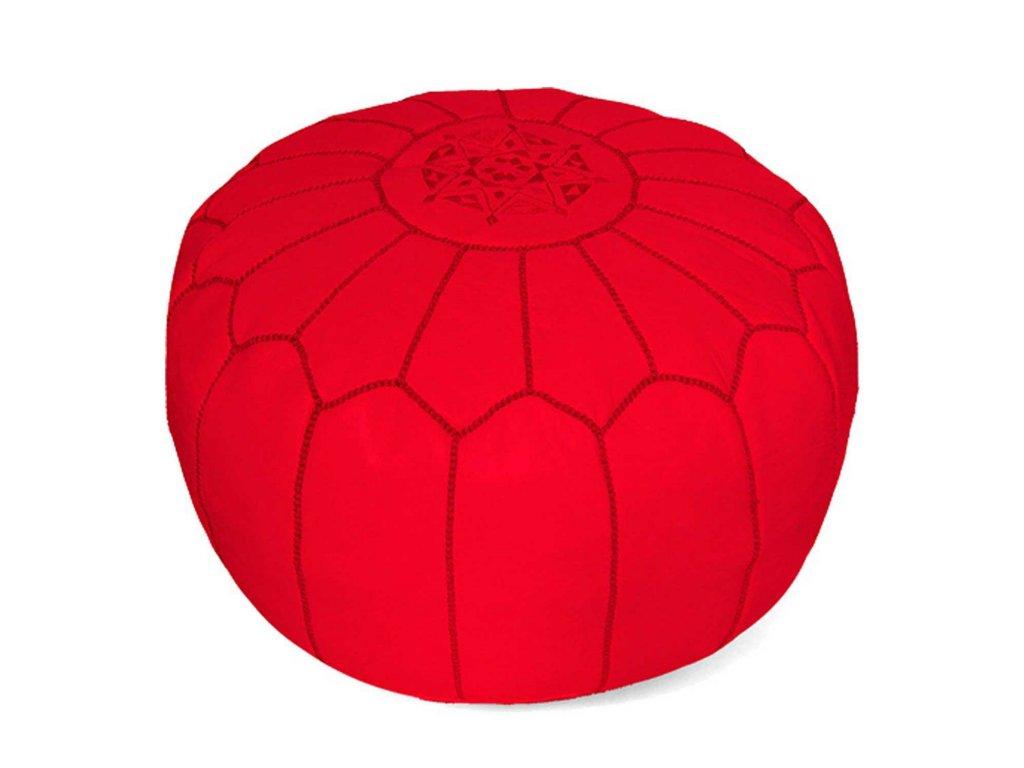 Orientální marocký taburet Marrakesh - červený s červeným prošíváním
