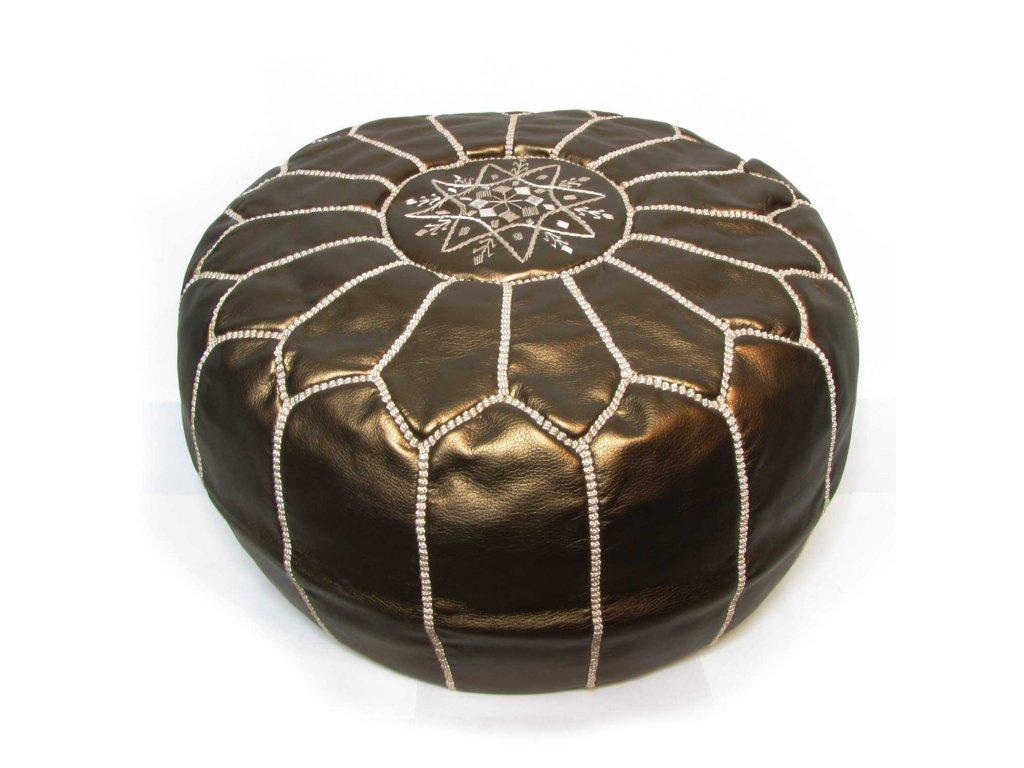 Orientální marocký taburet Bronze - bronzový s hnědým prošíváním
