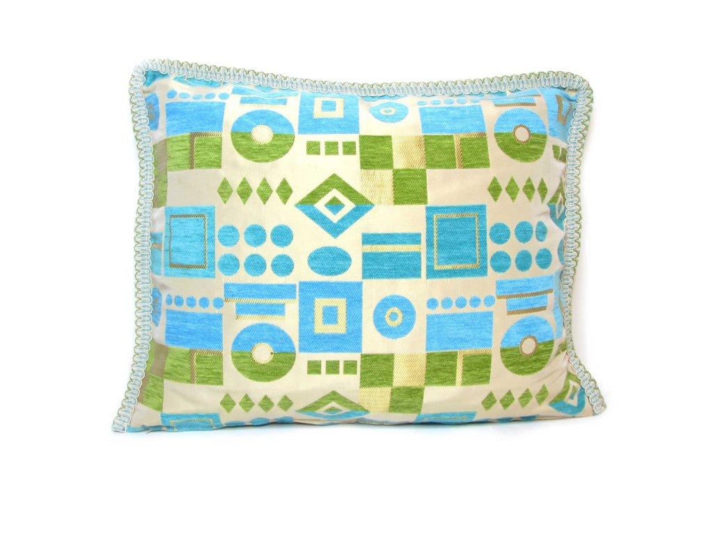 Povlak na polštář Tetouan - zeleno-modrý s geometrickými vzory