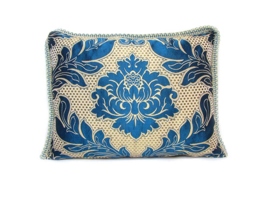 Povlak na polštář Nadia  béžový s modrými ornamenty