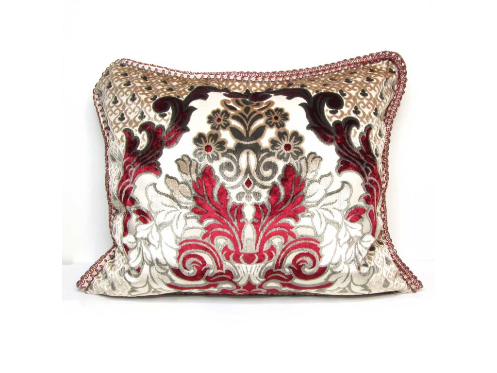 Povlak na polštář Imane - béžový s červenými ornamenty