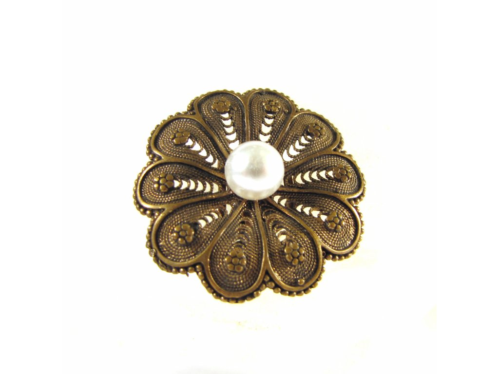 Prsten - Květ s perlou