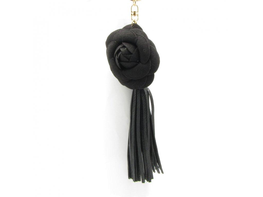 Přívěsek - klíčenka - střapec - květina - černý
