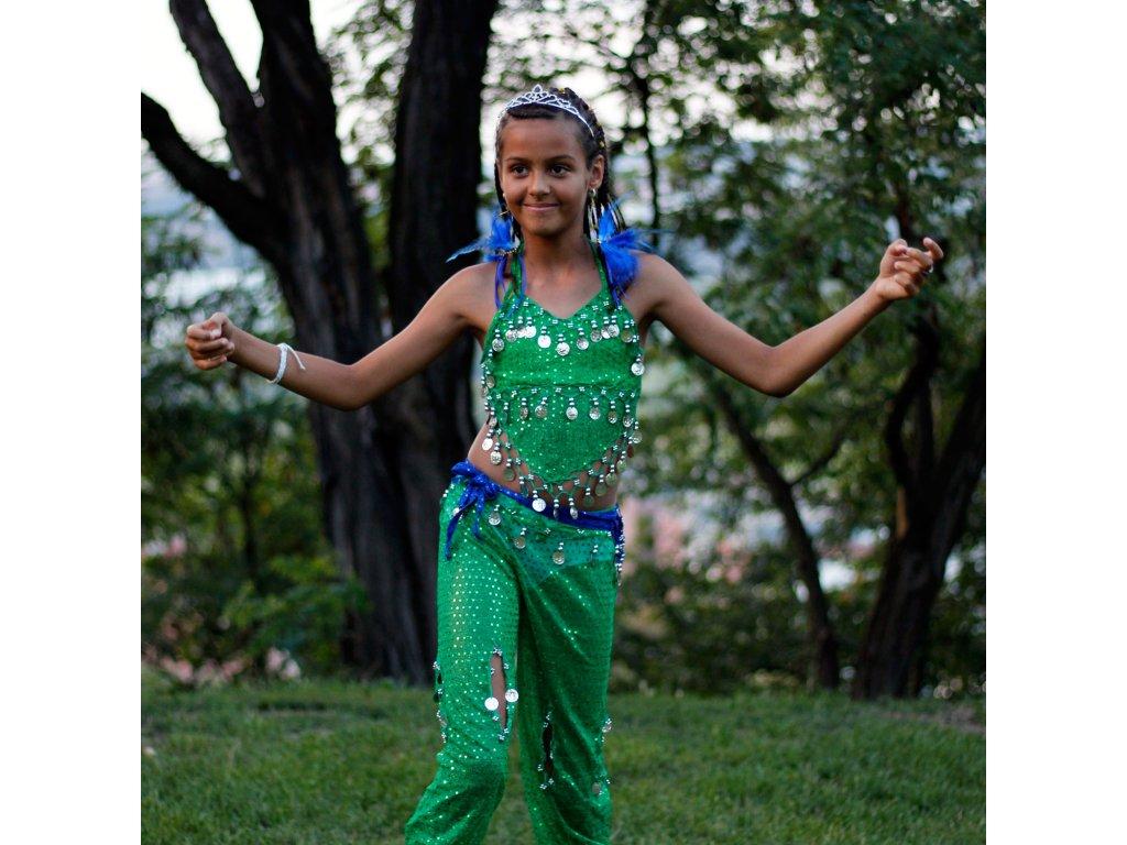 Dětský kostým na břišní tance - top + kalhoty - zelený