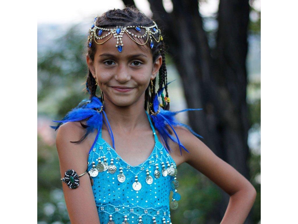 Dětský kostým na břišní tance - top + kalhoty - světle modrý