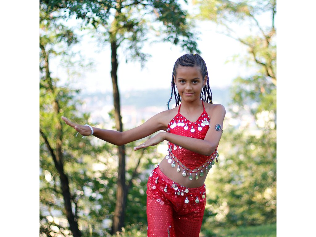 Dětský kostým na břišní tance - top + kalhoty - červený