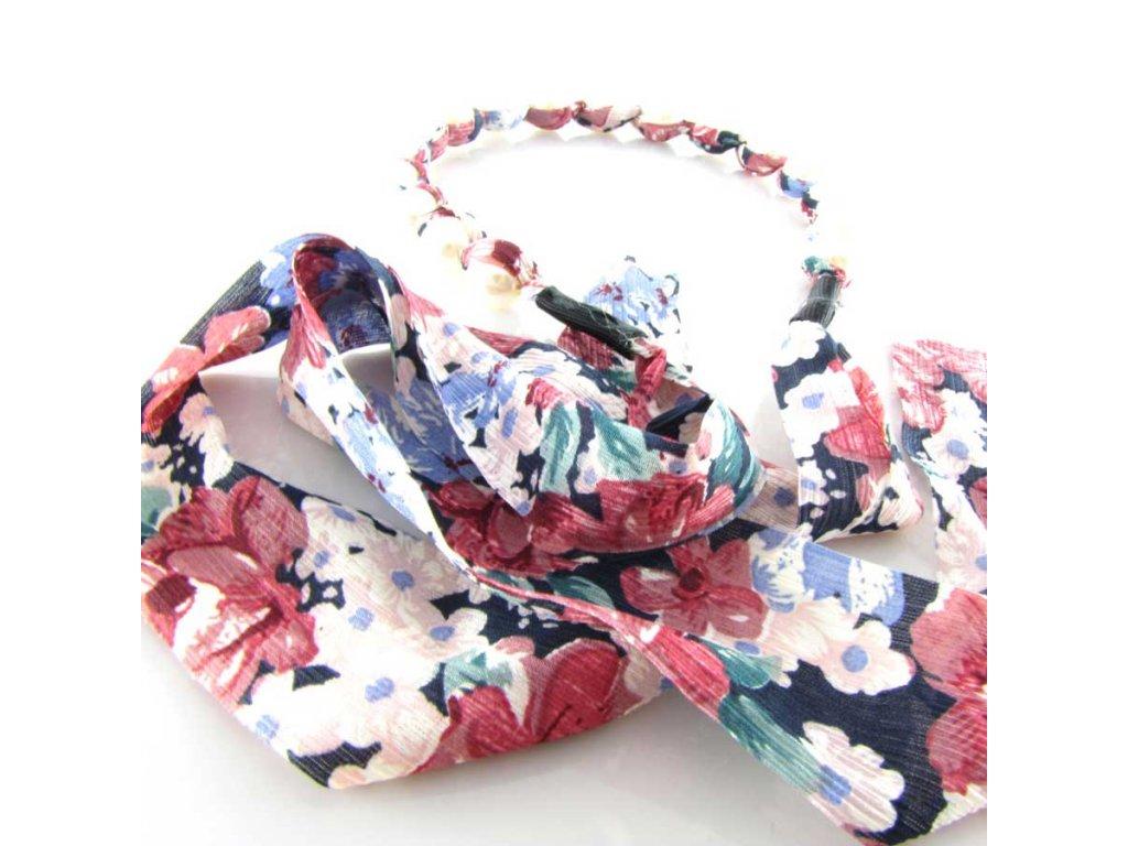 Čelenka do vlasů s perlami - Barevná květina