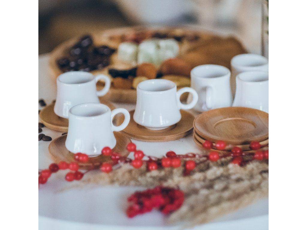 Keramický bambusový set na kávu pro šest osob - Shami