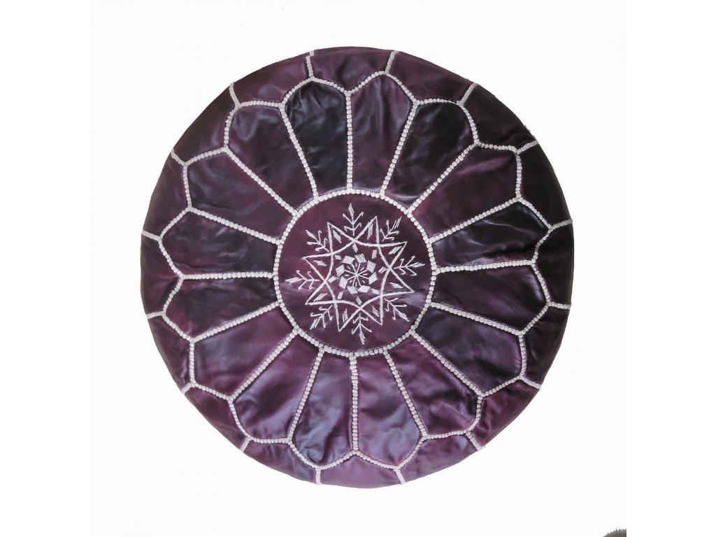 Orientální marocký taburet Claret - bordó s béžovým prošíváním