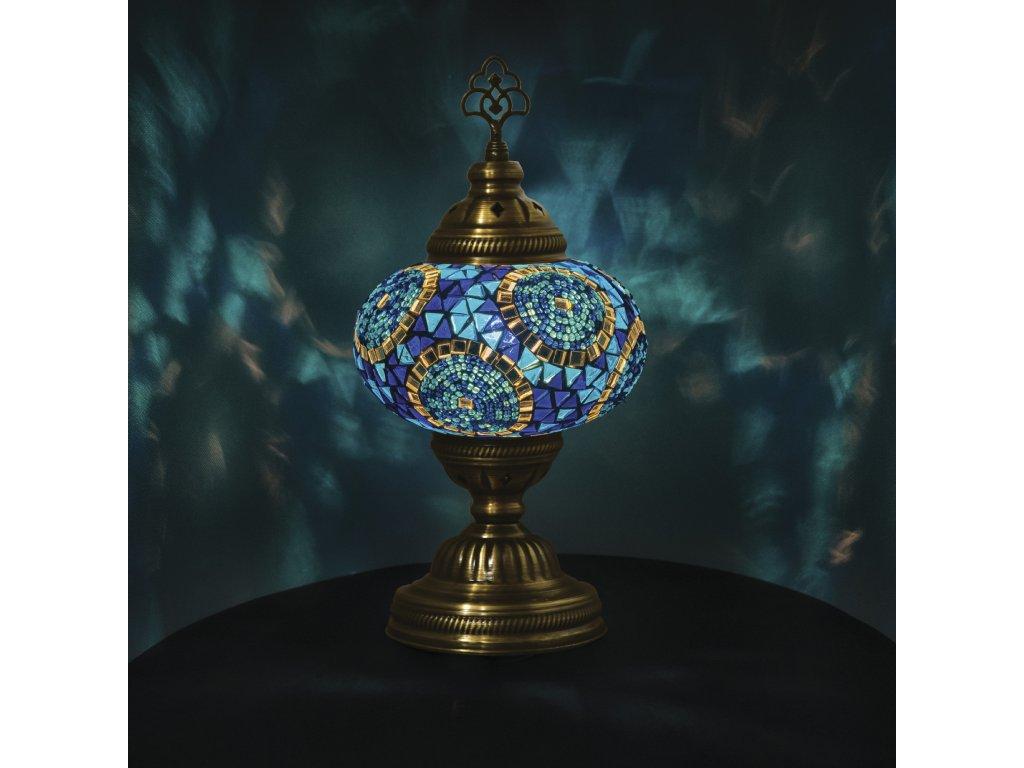 Orientální skleněná mozaiková lampa Bodrum - stolní