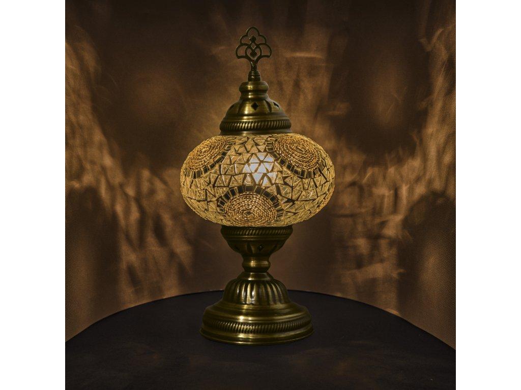 Orientální skleněná mozaiková lampa Blanc - stolní