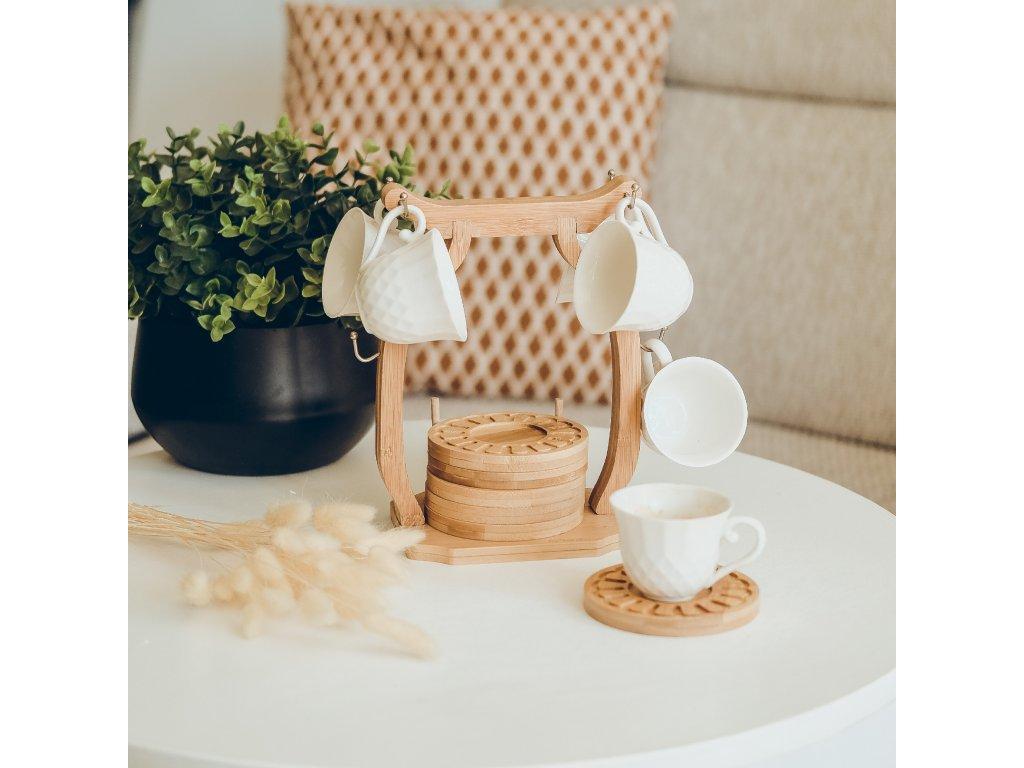 Keramický bambusový set na kávu pro šest osob - Malak