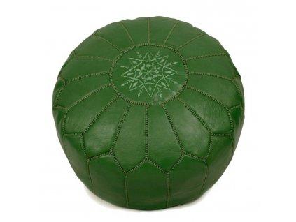 Orientální marocký taburet Zeitoun - lahvově zelený se zeleným prošíváním