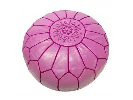 Orientální marocký taburet Fuchsia - fuchsiový s růžovým prošíváním