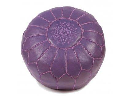 Orientální marocký taburet Menekse - fialový s lila prošíváním