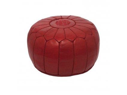 Orientální marocký taburet Bordeaux - bordó s bordó prošíváním