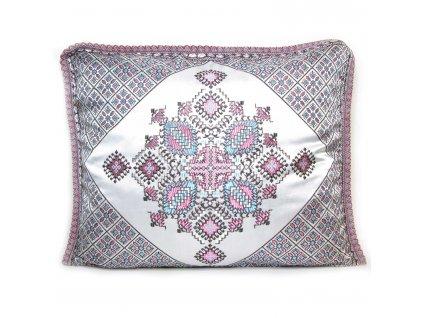 Povlak na polštář Zina - šedý s růžovými ornamenty