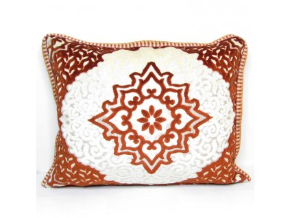Povlak na polštář Meryem - cihlový s ornamenty