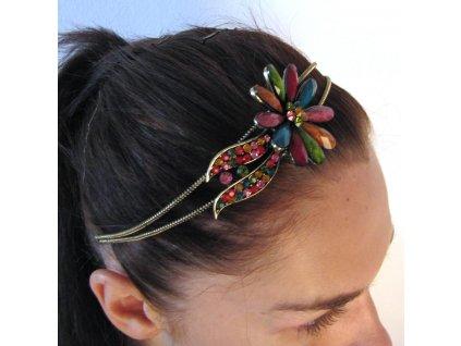 Čelenka do vlasů - barevná květina