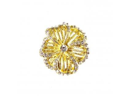 Prsten - Květ s kamínky a perlami