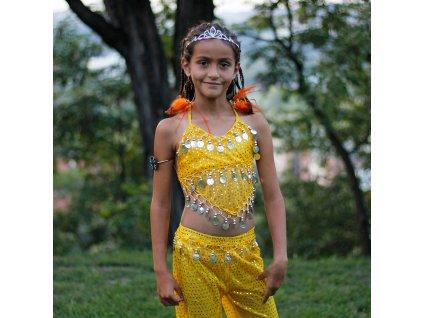 Dětský kostým na břišní tance - top + kalhoty - žlutý