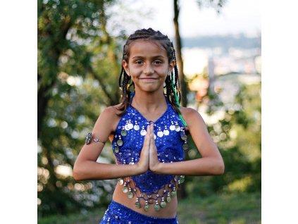 Dětský kostým na břišní tance - top + kalhoty - modrý