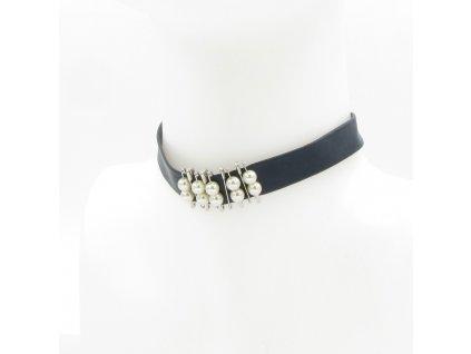 Choker - černý s perlami