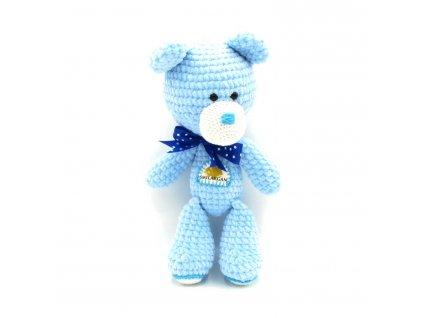 Háčkovaný medvídek Smilargan - modrý