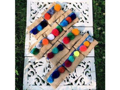 Klíčenka - Peněženka s barevnými pompony