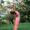Dětský kostým na břišní tance - top + kalhoty - oranžový
