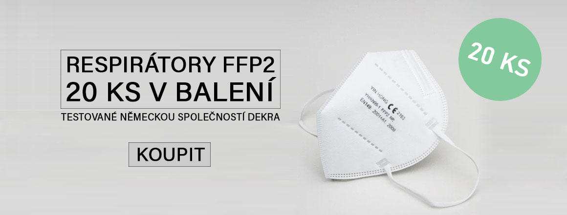 respirátory FFP2, 20 ks v balení, certifikované společností DEKRA