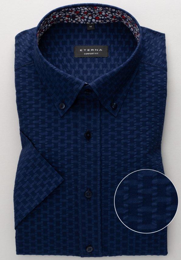 """Košile Comfort Fit """"Krep"""" s krátkým rukávem Modrá"""
