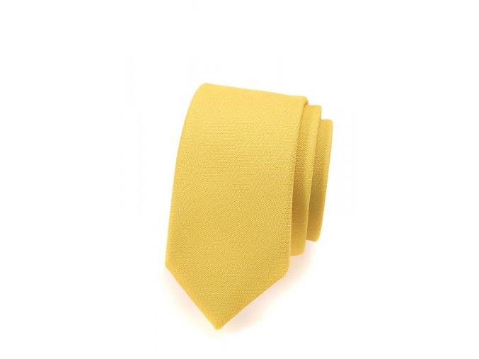 Úzká luxusní kravata Avantgard - žlutá