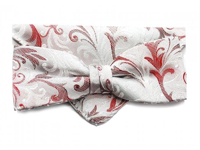 Dvojitý motýlek Brinkleys Modern s kapesníčkem - stříbrnorůžový