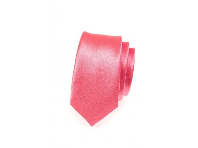 Úzká kravata Avantgard - korálová