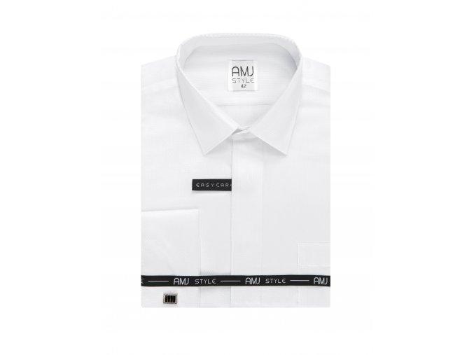 Společenská košile AMJ Slim fit s jemným vzorem a dvojitou manžetou - bílá