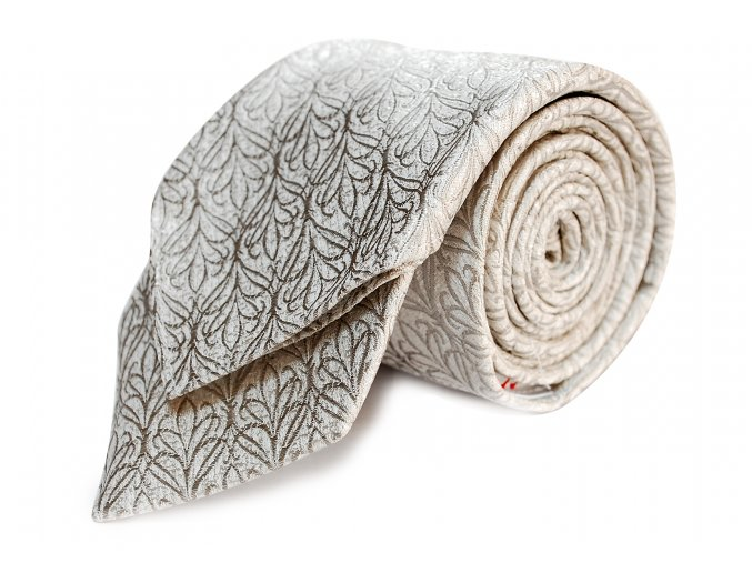 Úzká kravata s kapesníčkem Brinkleys - stříbrnobílá