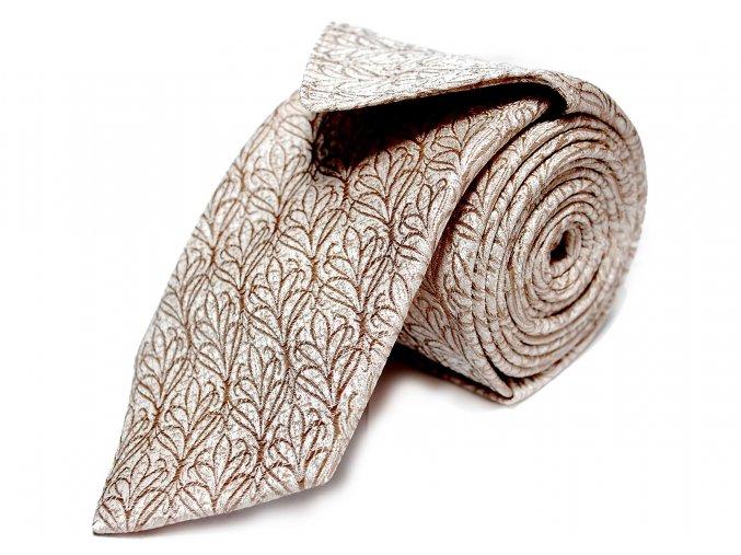 Úzká kravata s kapesníčkem Brinkleys - béžová