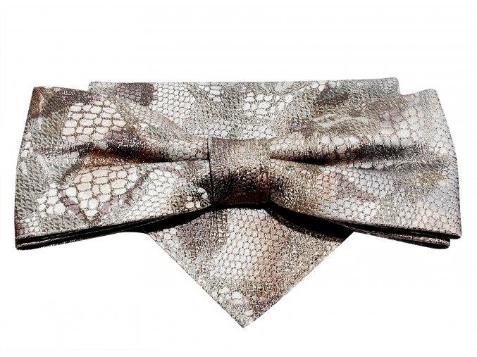 Dvojitý motýlek Brinkleys Modern s kapesníčkem - světle hnědý