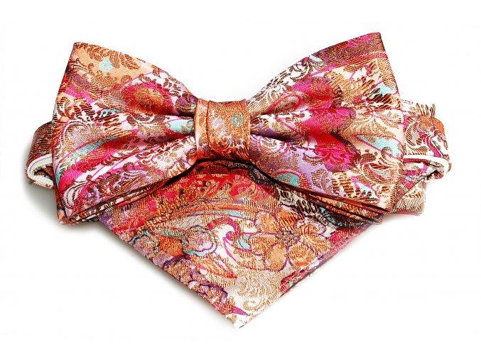 Dvojitý motýlek Brinkleys Classic s kapesníčkem - růžovofialový