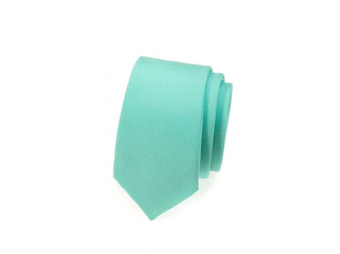 Úzká kravata Avantgard - mátová matná