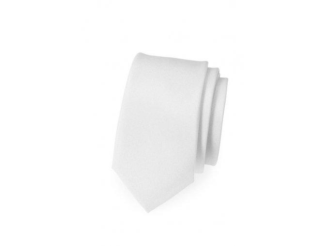 Úzká kravata Avantgard - bílá