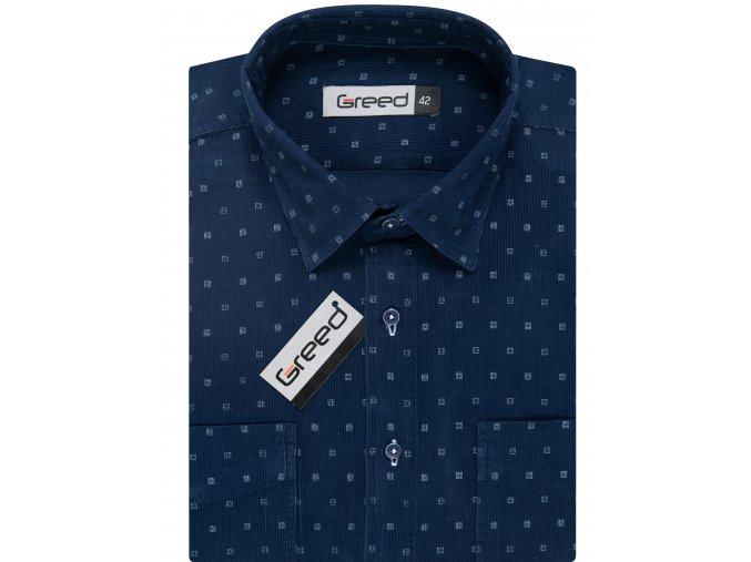 Manšestrová košile AMJ Greed Comfort fit - modrá