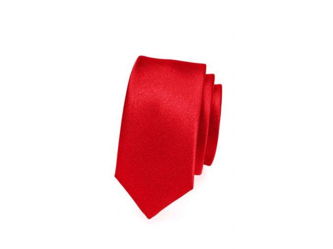 Úzká luxusní kravata Avantgard - červená