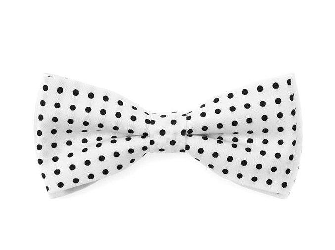 Dvojitý motýlek Avantgard bavlněný - bílý s černým puntíkem
